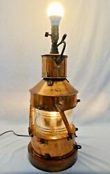 Best And Lloyd 23andrdquoh Maritime Copper Plated Oil Lantern Created In 1944.electrified