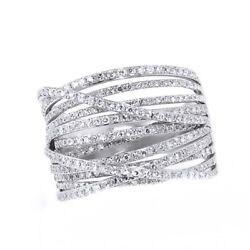 Diamond Crossover Band Ring 14k White Gold -0.98 Cttw