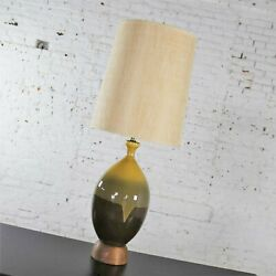 Large Mid Century Modern Ceramic Table Lamp Brown And Golden Yellow Drip Glaze