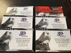 2004 Thru 2009 S State Quarter Proof Set 90 Silver 31 Coin Collection Ogp + Coa