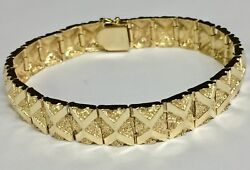 10kt Solid Yellow Gold Handmade Fashion Nugget Bracelet 11 Mm 35 Grams 7.5