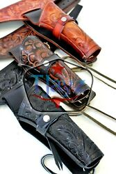 357 / 38 Right Hand Tooled Holster Leather Western Rig Gun Belt Drop Loop Sass