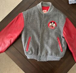 Mickey Mouse Clubhouse Varsity Jacket Red Leather Rare Kids Medium/large