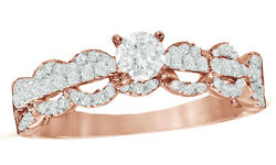 0.75 Ct Round Cut Diamond Vintage Style Scallop Engagement Ring 10k Rose Gold