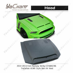 Frp Bonnet Fit For 10-14 Ford Mustang Shelby Gt500/gt/v6 Tc-a53kr Ram Air Hood