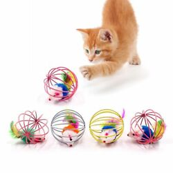 Cat Feather Wand Interactive Stick Toy Small Bell Mouse Cage Plastic Artificial