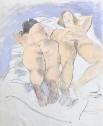 Two Reclining Nudes Original Pastel And Pencil Drawing Raphael Soyer