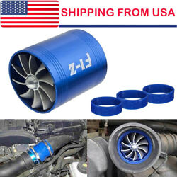 Universal Car Double Turbine Turbo Air Intake Gas Fuel Saver Fan Supercharger Us