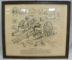 World War I Pencil Sketch Print By Roger Smith The Pirate Piece Dated 1919