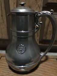 """Vintage Olympic Hotel L Barth And Son Chocolate Pot Ny Nickle Silver 9"""" Tall"""