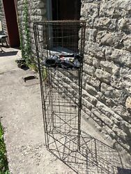 Antique Industrial Wire Basket Cubby Bin Laundry Room Clothing Display