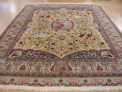 Hand Knotted Rug Wool Silk Gold Pictorial Oriental Carpet 12 x 16