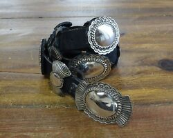 Vintage Navajo Stamped Sterling Silver Concho Belt By Jerry N Platero