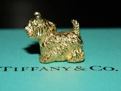 NIB Tiffany & Co Dog Terrier Charm 18k Yellow Gold 4 Bracelet Necklace Pendant
