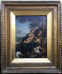 Antique Oil Painting The Holy Family W/ St John The Baptist 18th 19th Century