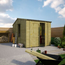 8x14 Wooden Garden Workshop Office Shed Extra Tall Apex Tongue And Groove Wall