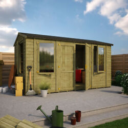 14x8 Wooden Garden Workshop Office Shed Extra Tall Apex Tongue And Groove Wall