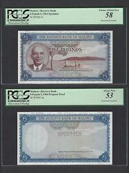 Malawi 2 Notes 5 Pounds L1964 P4s-4p Specimenand Proof About Uncirculated