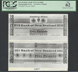 New Zealand 5 Pounds 19ca.1965 Traveller's Cheque Photograph Proof Unc