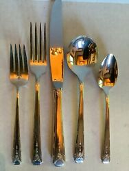 Vtg Oneida Community Silverplate Flatware Milady 5 Piece Place Setting Art Deco