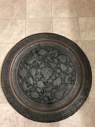 Vintage Antique Silver Tone And Copper Middle East Persian Qajar Tray Engraved.