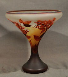 Antique Glass Vase Galle Cameo Acid Etched Colorful Tree Design