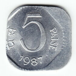India 5 Paise 1987 C Km23 Al Off-center Rotated Against Flan Rare Double Error