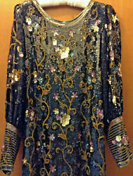 Vintage Hand-made Beaded And Sequined Below The Knee Bell Sleeved Women's Dress