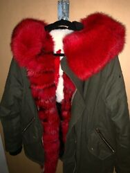 Moose Knuckles Red Fox Fur And Canvas Green Parka Unisex Size Small / Medium