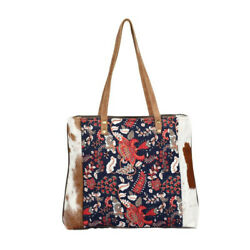 Planetoid Floral Design Cotton Tote Bag with Hair-On Hide Trim-Back Pocket 14x19