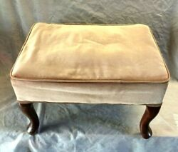 Vintage Wooden Queen Anne Lergs Bench, Upholstered Seat Bench - Nice