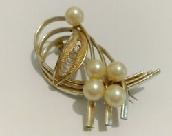 Vintage Wirework Brooch - Filigree Leaf with Pearl Spray in Silver Tone Unsigned