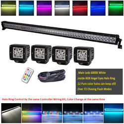 50 Inch 288w Led Light Bar + 4x 3 Spot Pods Chasing Rgb Halo Remote Controlled