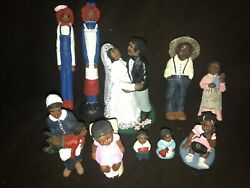 Vtg Hand Painted Black Americana Resin Figurines Signed Rp Lot Raggedy Ann Andy