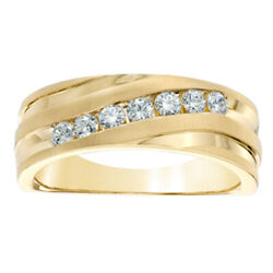 Menand039s 1/2 Ct Diamond Slant Wedding Band In 14k Yellow Gold Over Sterling Silver