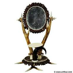 Antler Dressing Table Set With Mirror Ca. 1840