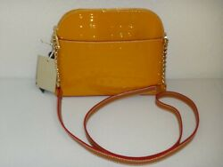 Arcadia Dome Crossbody Bag Yellow Mustard Embossed Patent Leather Made In Italy