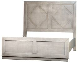 84 Lazzaro Queen Bed Hand Rubbed Grey Wash Finish Solid Pine Hardwood Rustic