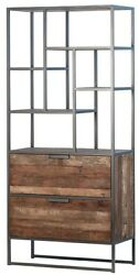 72 T Adelaide Cabinet Modern Open Iron Display Rustic Recycled Wood Cabinetry