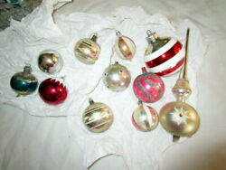 Large Antique Lot Christmas Tree Glass Ornaments-balls -tree Topper -germany