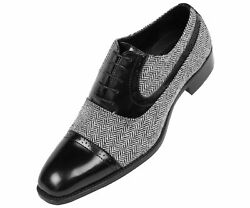 Bolano Mens BlackWhite Herringbone & Black Smooth Cap-Toe Oxford : Thoreau-473