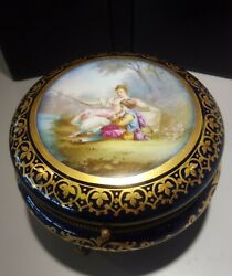 19th Century Large Sevres Round Footed Porcelain Box Bronze Legs Circa 1837-1844
