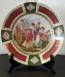Royal Vienna Porcelain Plate With Mystery Berry Mark Cherub And Three Women