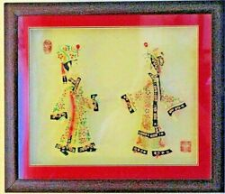 Vintage Pair Of Rare High Quality Hardwood Framed Chinese Shadow Puppets