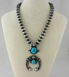 Sterling Silver Bead Necklace With Natural Kingman Turquoise Naja