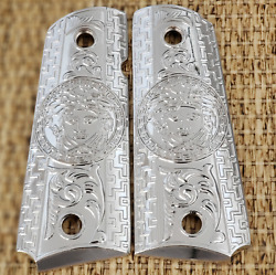 Versace Style Colt 1911 Custom Grips Nickel Plated Metal 1911 Full Size Grips