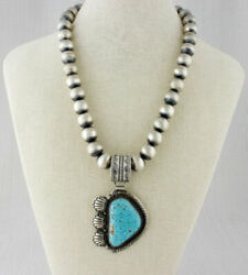Sterling Silver Bead Necklace With Natural Kingman Web Turquoise Pendant