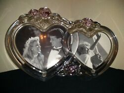 Vintage Lead Crystal Intertwined Heart Pink Rose Double Picture Frame Wedding