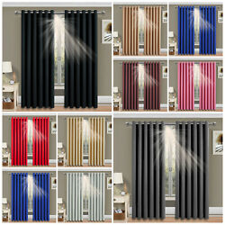 Thick Thermal Blackout Ready Made Eyelet Ring Top Pair Curtains Panel +tie Backs