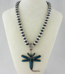 Silver Bead Necklace With Natural China Mountain Turquoise Dragonfly Pendant